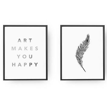 Art Makes You Happy Print, Feather Print, Real Gold Foil Print, Minimalist Decor, Home Decor, Typography Poster, Art Poster, Set Of 2 Prints