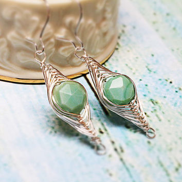 Mint Opal Earrings - Herringbone Wire Wrapped Sterling Silver Earrings - Wire Jewelry ~ Natural Semiprecious Gemstones