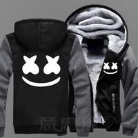 BOOCRE New Winter Jackets and Coats Marshmello hoodie DJ Hooded Thick Zipper Men Sweatshirts