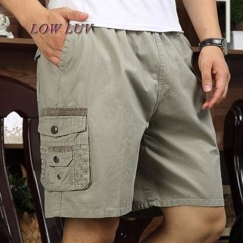 Summer big middle-aged men's casual pants dad loaded cotton beach pants loose middle-aged men's five
