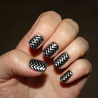 Silver Chevron Vinyl Nail Decals on Clear by LongChanged on Etsy