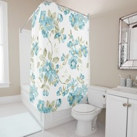 Cute Olive Green Aqua Turquoise Floral Watercolor Shower Curtain