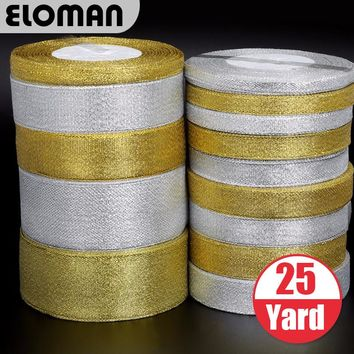 ELOMAN Handmade Gold and Silver Ribbon 25 Yard 22M Metallic Luster Wedding Christmas Decoration DIY Webbing Card Gift Wrapping