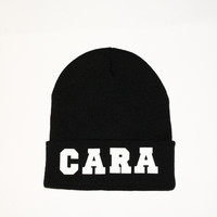 SPRING SALE- Black Beanie with words, Black Cara beanie, grunge, slouch beanie, beanie with letters, Cara delevingne Beanie, Miley Beanie