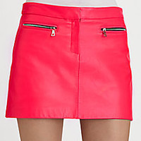 Milly - Zip-Pocket Leather Mini Skirt - Saks Fifth Avenue Mobile