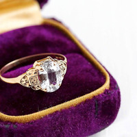 Vintage Art Deco 10k Rosy Yellow Gold Genuine 1.5 Carat White Sapphire Ring - Size 5 1/2 Colorless Gemstone Engagement Fine Flower Jewelry