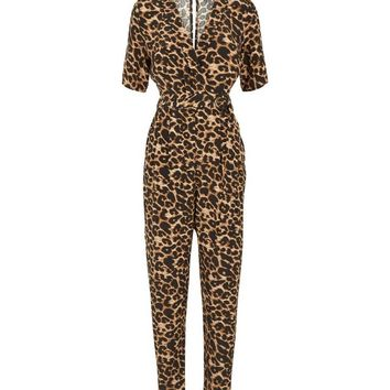 Brown Leopard Print Revere Collar Wrap Jumpsuit | New Look