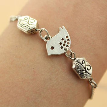 lovely bird bracelet--branch beads bracelet,antique silver charm bracelet,love bracelet,friendship gift,alloy chain