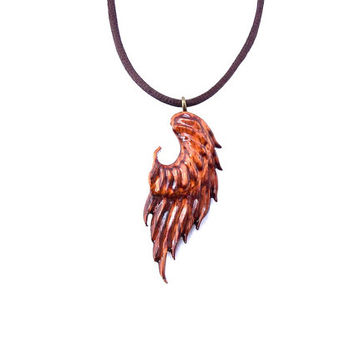 Angel Wing Necklace, Wing Necklace, Angel Wing Pendant, Wooden Angel Wing Pendant, Wood Wing Necklace, Wooden Pendant, Angel Wing Jewelry