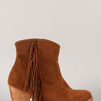 Sally-02 Fringe Round Toe Cowboy Ankle Bootie