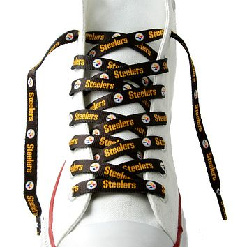 """Pittsburgh Steelers Shoe Laces - 54"""" Black"""