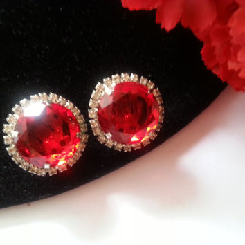 Now On Sale D&E For Castlecliff Red Clear Rhinestones Clip Earrings, Juliana Jewelry, Designer Signed Vintage Jewlery