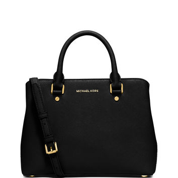 Savannah Medium Saffiano Satchel Bag, Black