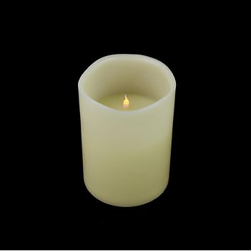 """8"""" Ivory Battery Operated Flameless LED Lighted 3-Wick Flickering Wax Christmas Pillar Candle"""