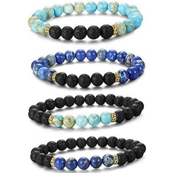 AUGUAU LOYALLOOK 2-4pcs Unisex Lava Stone Elastic Beaded Bracelet Healing Energy Stretch Eessential Oil Diffuser Bracelets 6-8MM
