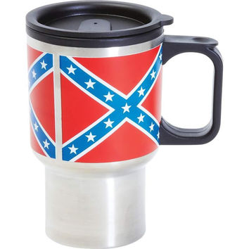 Be A Rebel 14oz Stainless Steel Mug With Rebel Flag Logo