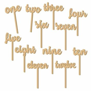 Modern 1-12 Wooden Table Numbers Freestand Stick Set Wedding Birthday Party Decor With Base For Home Craft Gift Ornament