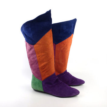 Boots Colorblock Suede Vintage 1980s Purple Pink Orange Green Blue Bootalinos Slouch Women's size 9