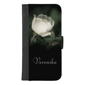 White Wild Rose on a Dark Background. Your Name. iPhone 8/7 Plus Wallet Case