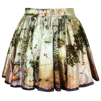 2014 Summer Lord of The Rings Short Skirts Womens Mini Skater Skirt -Middle Earth Map skirt-Not Pencil Skirt Denim Dress Stocking = 1930113988