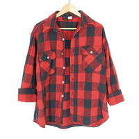Vintage Lumberjack Flannel Shirt -- Buffalo Plaid -- 90s Flannel -- Red and Black Plaid Check -- Soft Thick Rugged Flannel -- Mens S