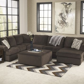 Ashley Furniture 39804-66-34-17 3 pc jessa place ii collection chocolate fabric upholstered sectional sofa with chaise and rounded arms