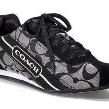 COACH HILARY SNEAKER SIGNATURE JACQUARD BLACK / WHITE WOMEN SHOE SIZE 12 M