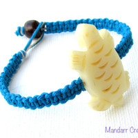 Turtle Bracelet, Handmade Turquoise Hemp Jewelry, Carved Bone Bead, Gifts for Her