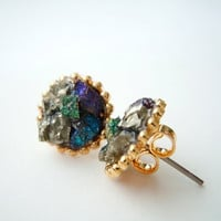 Peacock Ore Cluster Stud Earrings - With Accents of Shimmery Pyrite Minerals