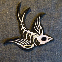 Swallow Skeleton Iron on Patch