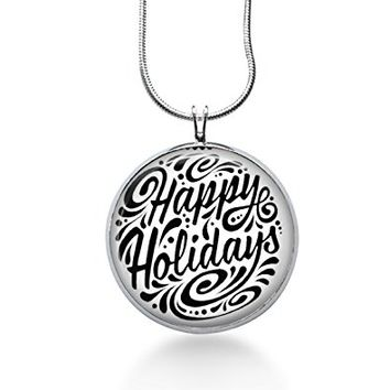 Christmas jewelry for women Happy Holidays necklace- art pendant, handmade gifts