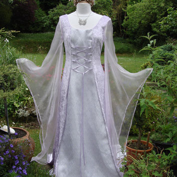 Bespoke one off Lilac fairy elven  lotr renaissance medieval pagan  wedding dress / handfasting gown UK 8 to 14 / US 6 to 12