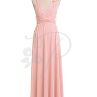 Bridesmaid Dress Infinity Dress Blush Floor Length Wrap Convertible Dress Wedding Dress
