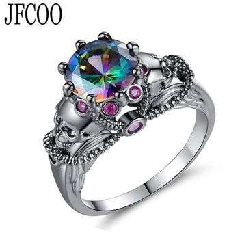 Creative Punk Colorful Zircon Black Gold Color Skull Ring For wedding Women Party Jewelry Rings