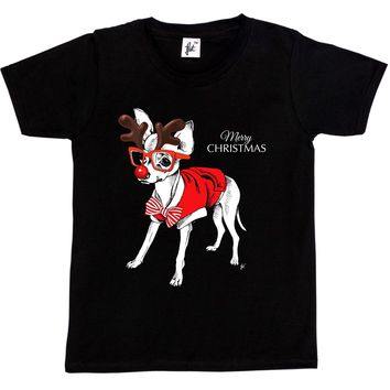Dabbing Merry Christmas Chihuahua Red Nose Dog T-Shirts - Men's Top Tee