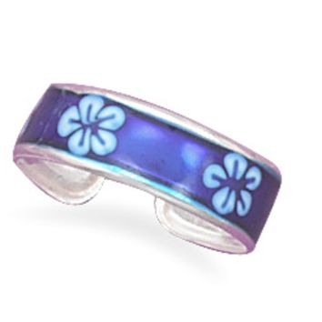 Blue Epoxy Floral Toe Ring