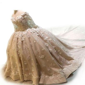 Ball Gown Wedding Dresses LONG TRAIN Lace Appliqued 3D Flowers  SATIN Tulle Wedding Gowns SLEEVES