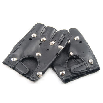 UNISEX STUDDED BLACK LEATHER LOOK FINGERLESS GLOVES FANCY DRESS PUNK GOTH