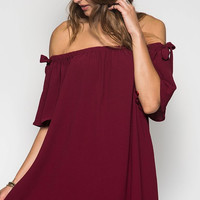 Evening Out Off Shoulder Dress - Wine