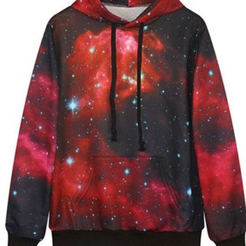 Red Galaxy Print Pockets Drawstring Oversized Casual Hooded Pullover Sweatshirt
