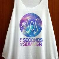5 Second of Summer 5Sos Shirt Galexy Space Pop Rock Shirt Tank Top White Shirt Tee Tunic Singlet Vest Women Shirts Clothing - Size S M