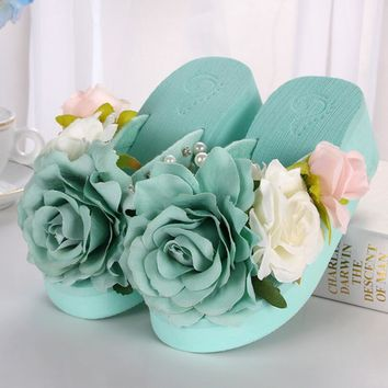summer women mules clogs wedge sandals garden shoes handmade artifical pearl slippers