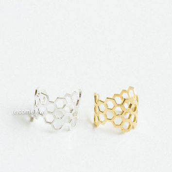 Much hexagon adjustable ring,Adjustable,cute ring,gold honeycomb,couple ring,cool,unique ring,bridesmaid gift,women ring,stretch,USADR57