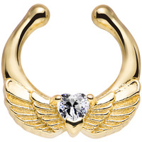 Gold IP Clear Heart Angel Wings Non-Pierced Clip On Septum Ring | Body Candy Body Jewelry