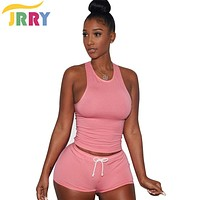 JRRY Two Pieces Fashion High Street Women Playsuits  Tank Top Short Pants Skinny Ladies Jumpsuit Romper