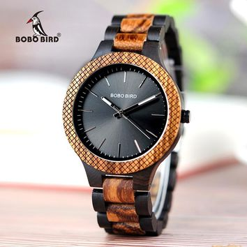 BOBO BIRD Wood Watch Men bayan kol saati Quartz Mens Watches with Luminous Hands in Wooden Gifts Box WD30-1