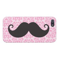 Black handlebar mustache on pink damask pattern iPhone 5 cover from Zazzle.com