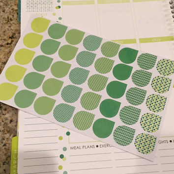 FREE SHIPPING C10 March St. Patrick's Day teardrop stickers for Erin Condren Life Planner/Plum Paper Planner - set of 40