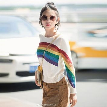 2018 Winter Runway Design Rainbow Striped Knitted Sweaters Women Harajuku Long Sleeve Loose Pullovers Pull Jumper Tops Clothing