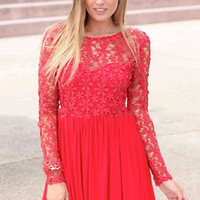 Floral Crochet Lace Long Sleeve Pleated Chiffon Mini Dress